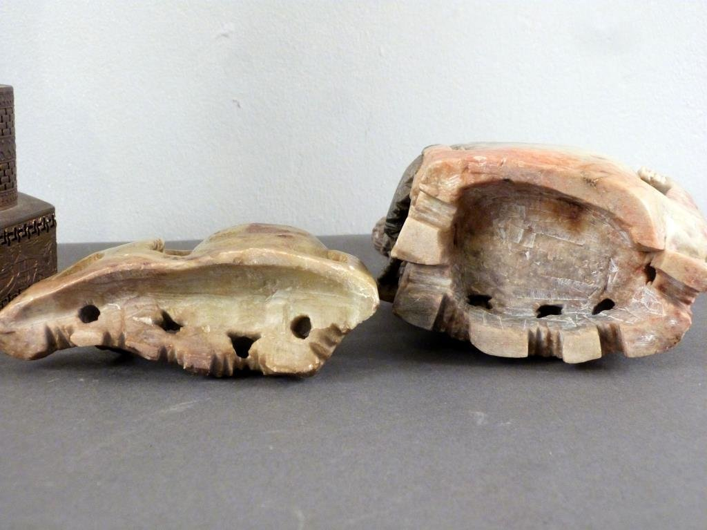 3 Carved Soapstone Articles - 3