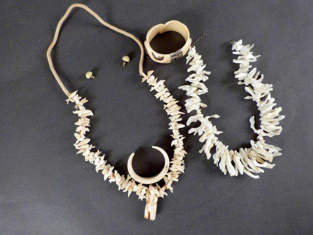 Bone and Shell Carved Costume Jewelry