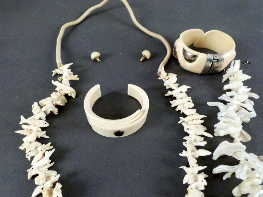 Bone and Shell Carved Costume Jewelry - 2