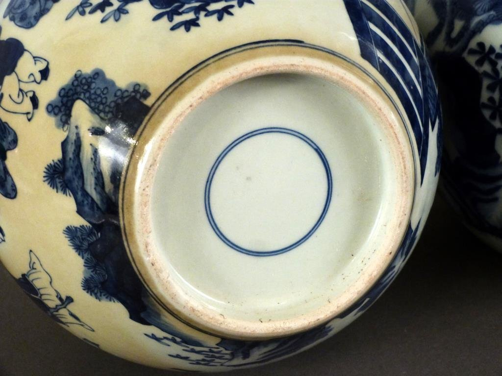 Pair Chinese Blue and White Vases - 4