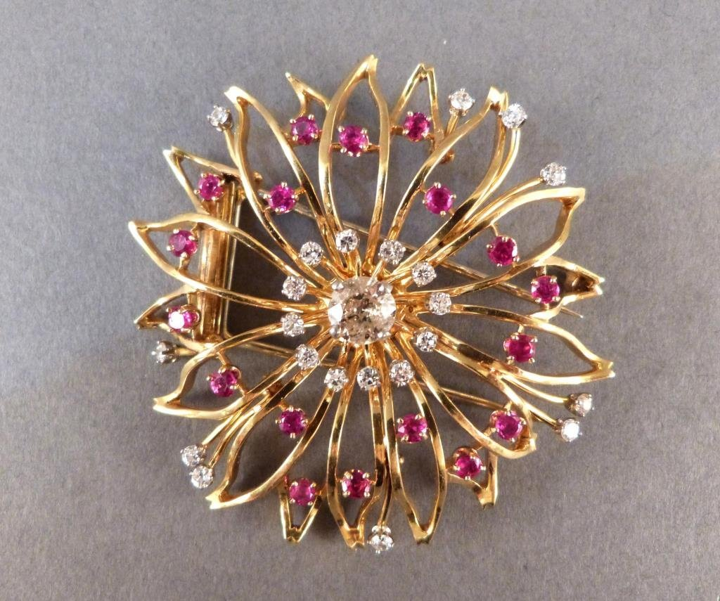 Large Round Diamond and Ruby Clip