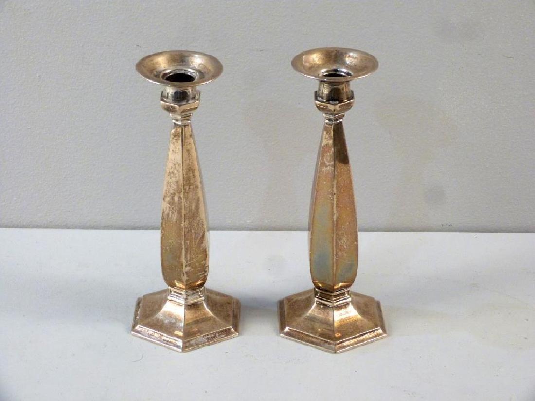 Pair Mid Century Sterling Candlesticks