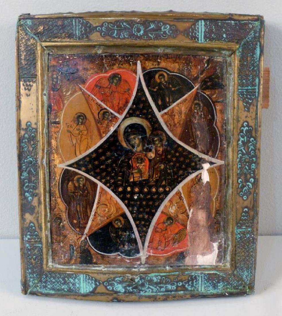 Painted and Metal Framed Russian Icon