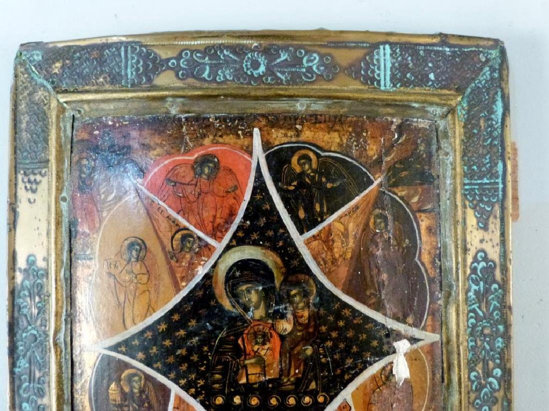 Painted and Metal Framed Russian Icon - 2