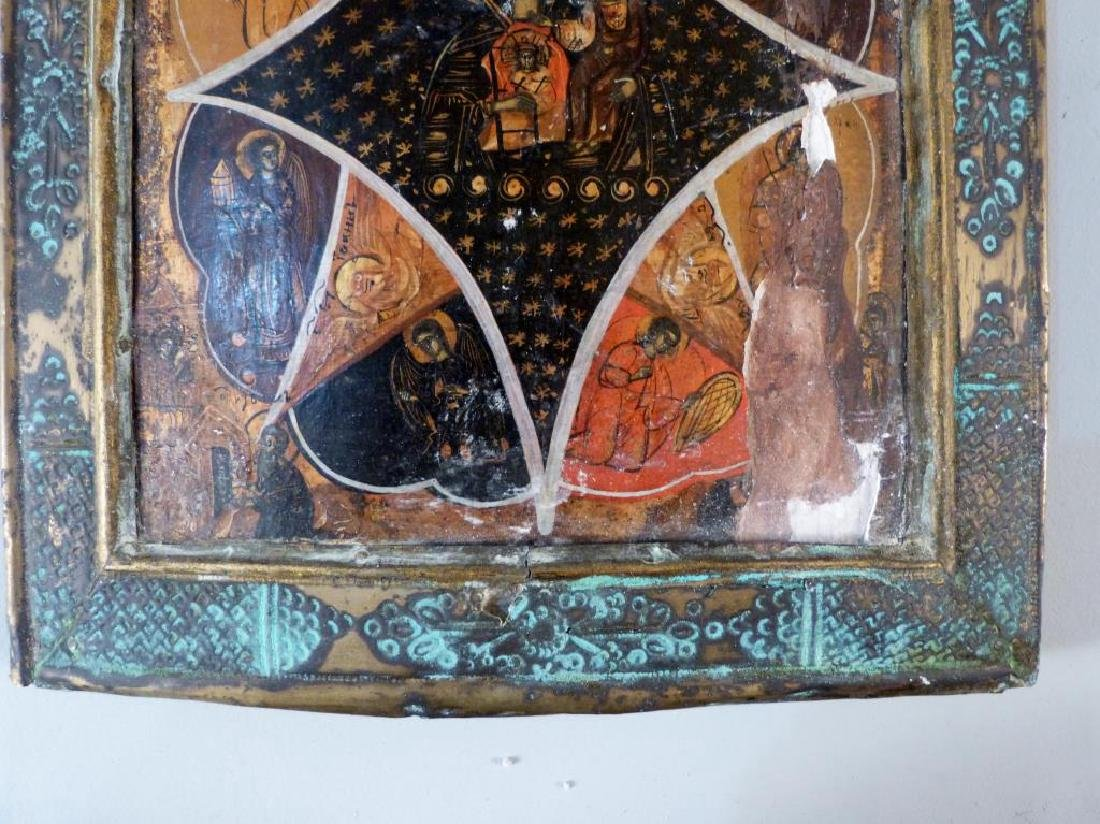 Painted and Metal Framed Russian Icon - 3