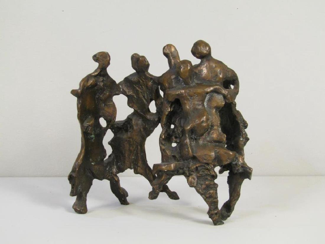 Signed Illegibly - Abstract Bronze Figural Group