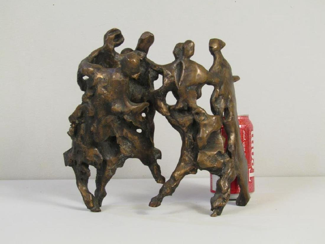 Signed Illegibly - Abstract Bronze Figural Group - 7