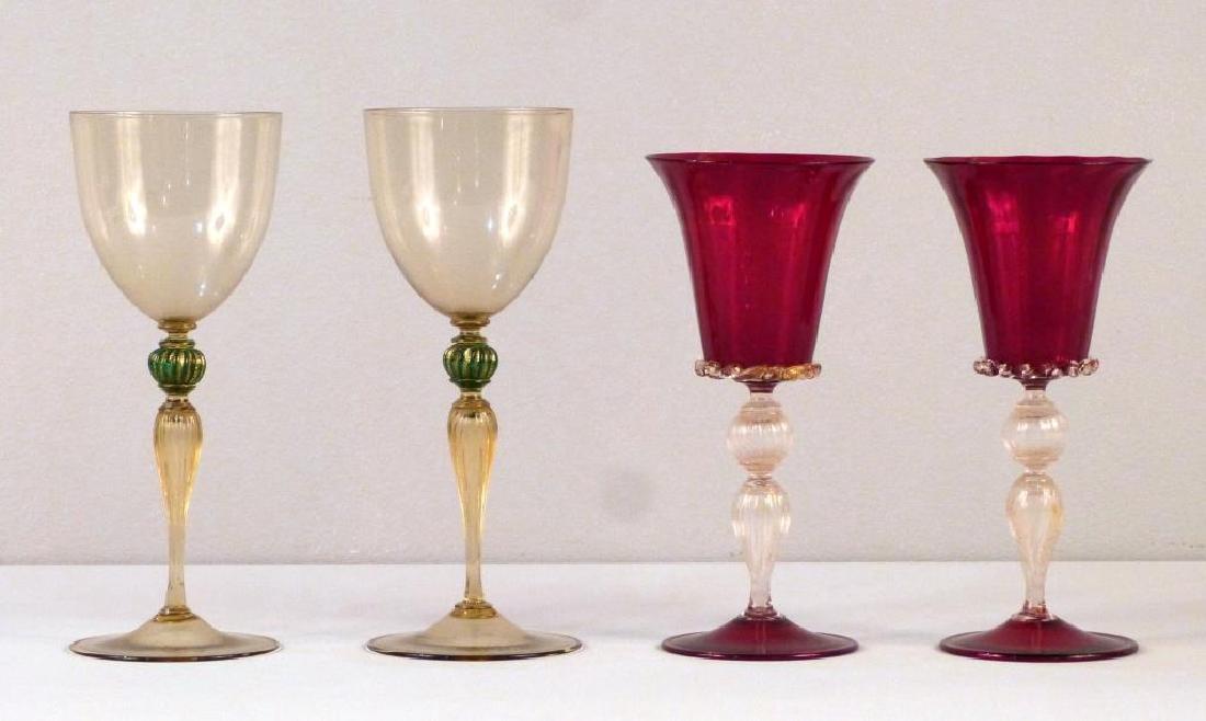 2 Pair Venetian Glass Style Wine Stems