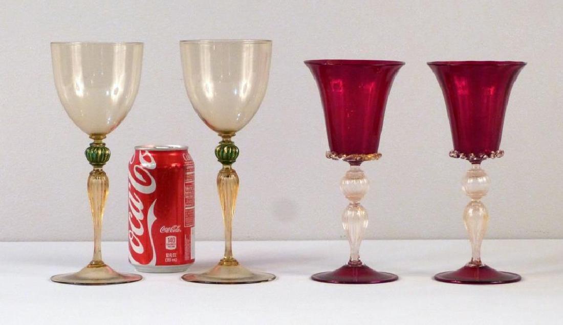 2 Pair Venetian Glass Style Wine Stems - 2