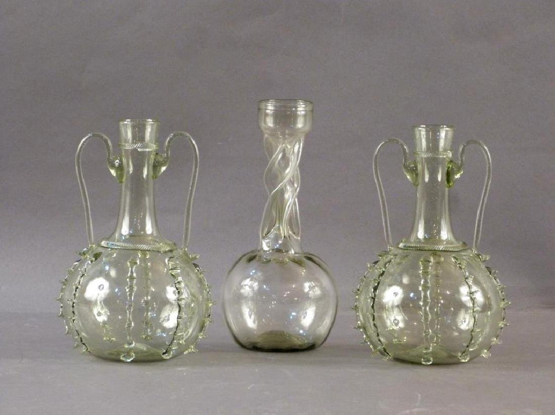 3 Green Glass Decanters - Pair and Single