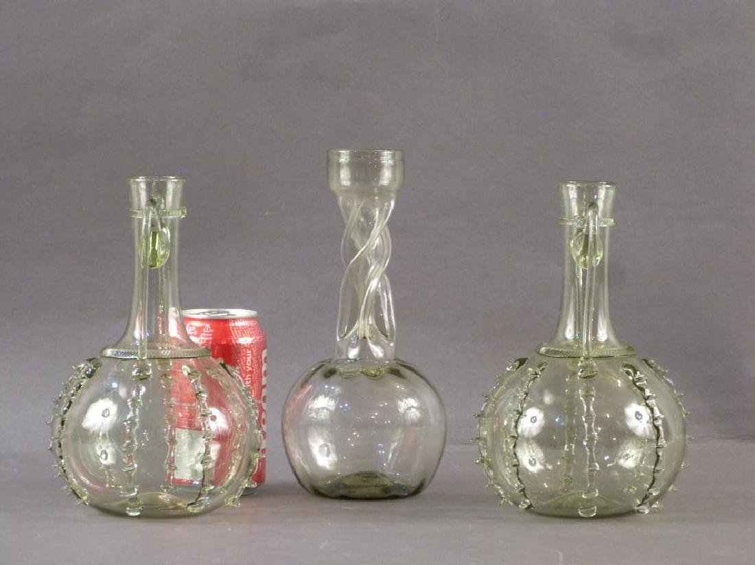 3 Green Glass Decanters - Pair and Single - 2