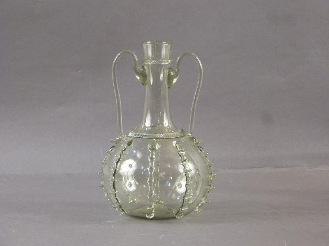 3 Green Glass Decanters - Pair and Single - 3