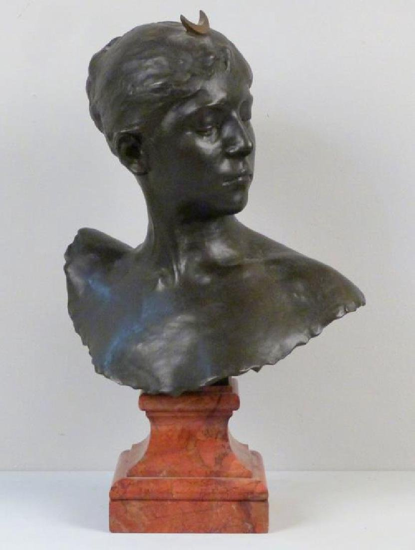 A. Falquiere - Bronze Bust of Diana