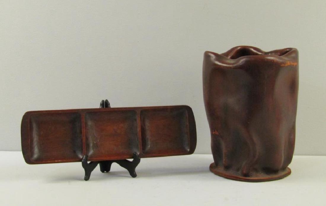 Danish Wood Tray and Italian Leather Basket