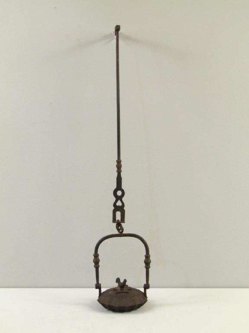 Antique Iron Hanging Oil Lamp