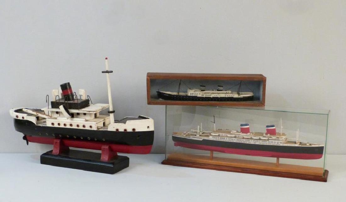 3 Painted Wood Ship Models