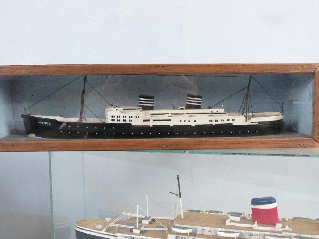 3 Painted Wood Ship Models - 4