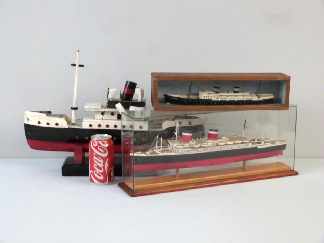 3 Painted Wood Ship Models - 5