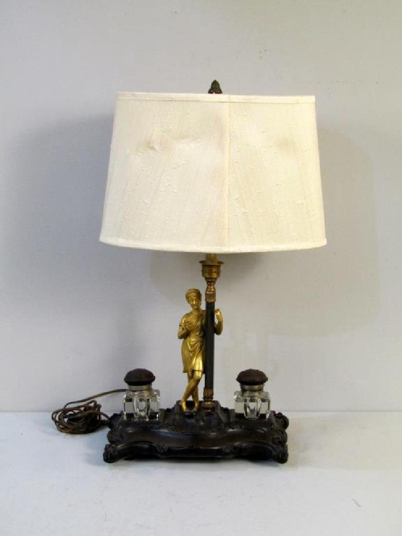 Figural Inkwell Mounted as a Lamp