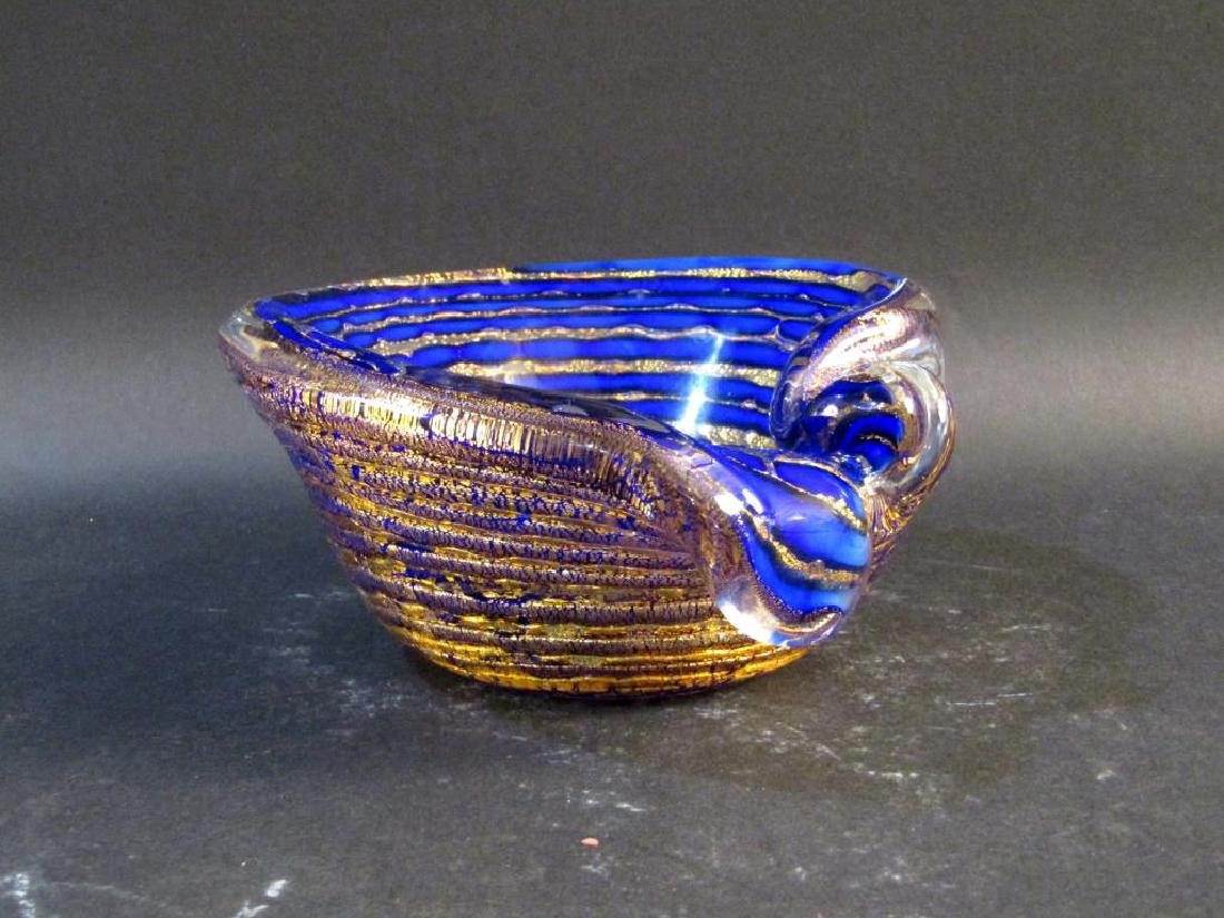 Venetian Blue and Gilt Speckle Dish