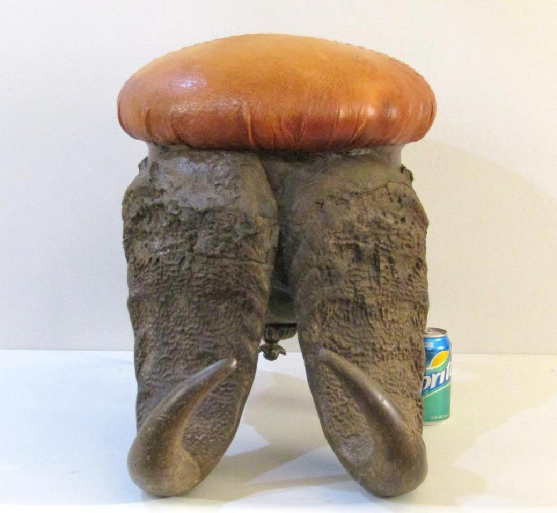 Unusual Horn Base Hide Covered Footstool - 4
