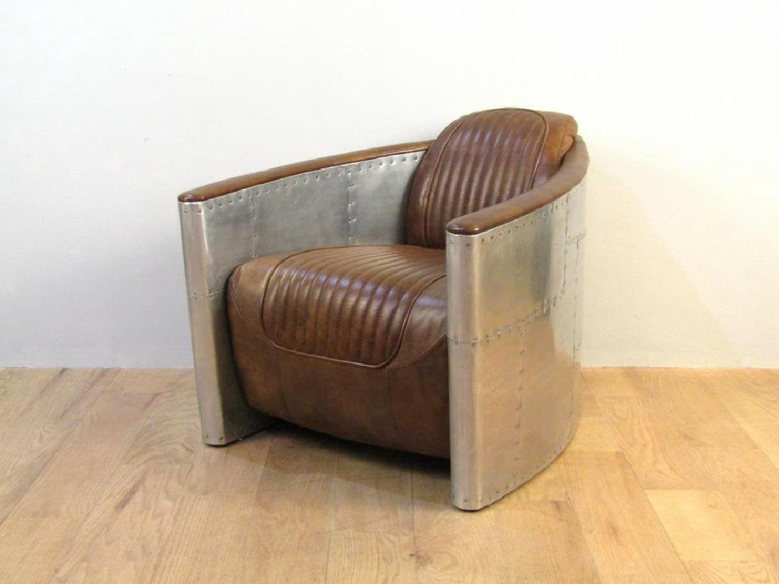 Art Deco Style Metal Framed Club Chair