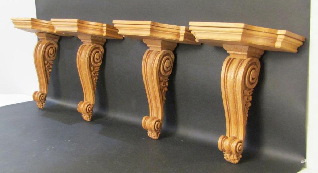 Set of 4 Carved Oak Brackets