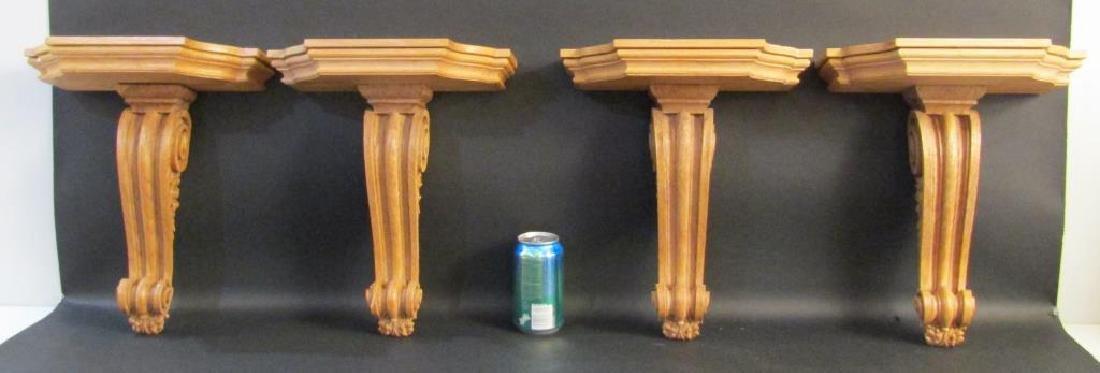 Set of 4 Carved Oak Brackets - 4