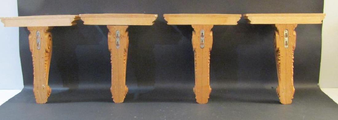 Set of 4 Carved Oak Brackets - 5
