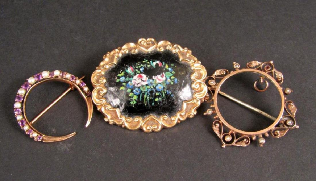 3 Antique Gold Brooches