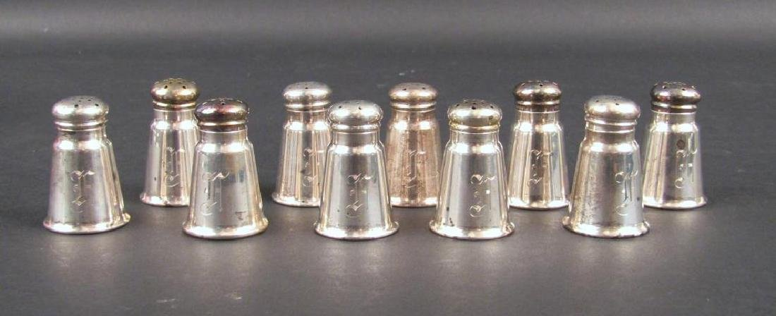 Set of 10 Sterling Silver Shakers