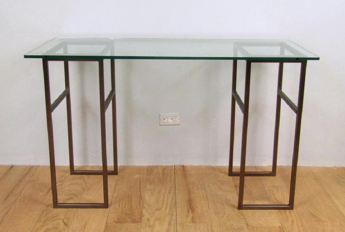 Glass Top Two Pedestal Table
