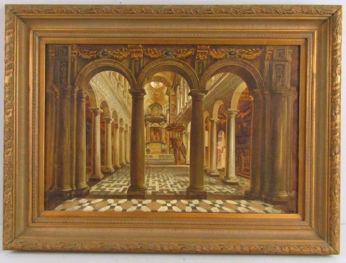 Oil on Canvas of an Italian Church (?)