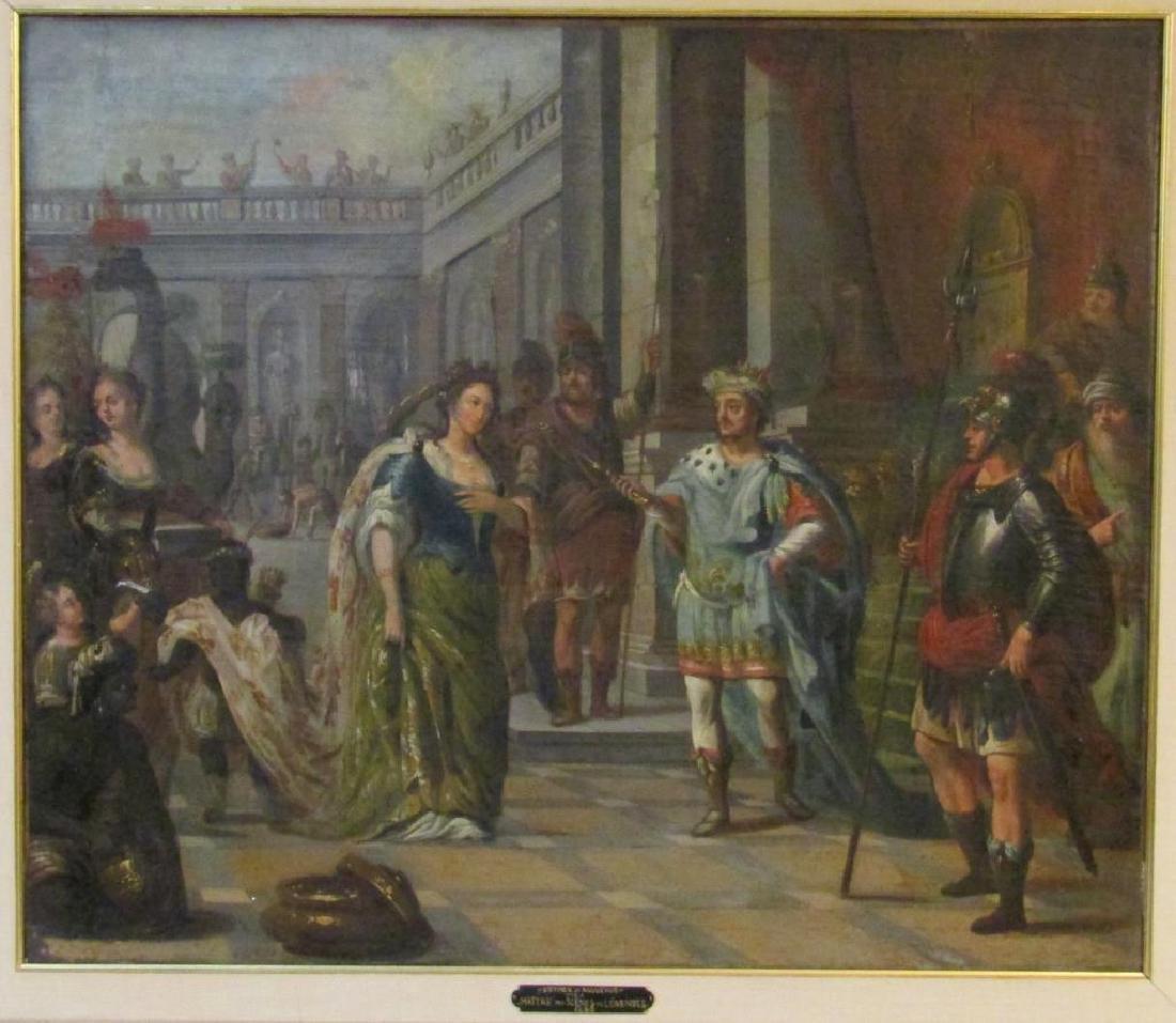 "Antique Oil on Canvas - Esther & Assuerus"""""