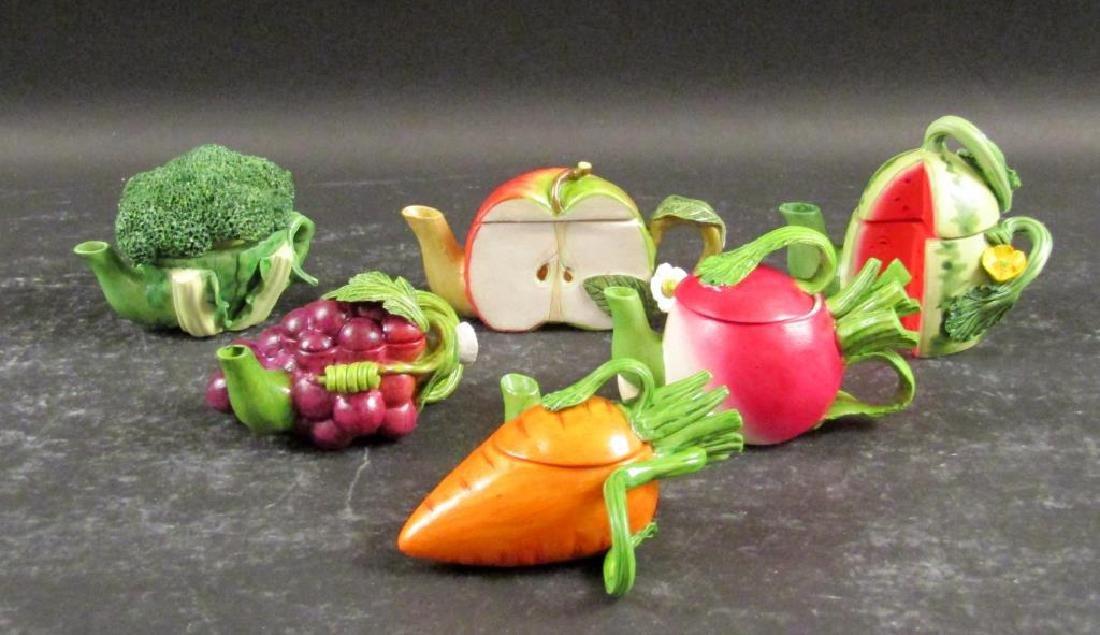 Set of Miniature Porcelain Fruit Teapots