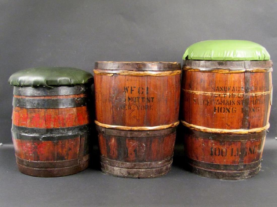 3 Vintage/Antique Barrels / Stools