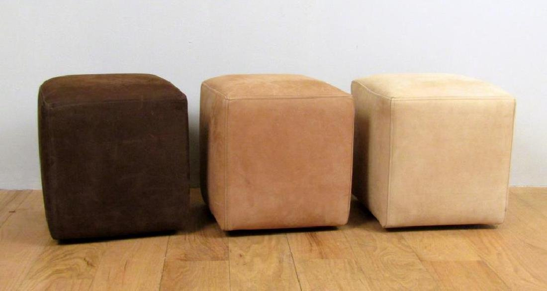 Set of 3 Suede Ochre of London Stools