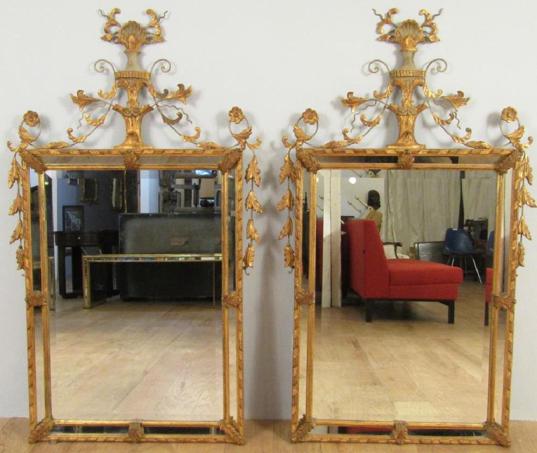 Pair Adam Style Beveled Glass Mirrors