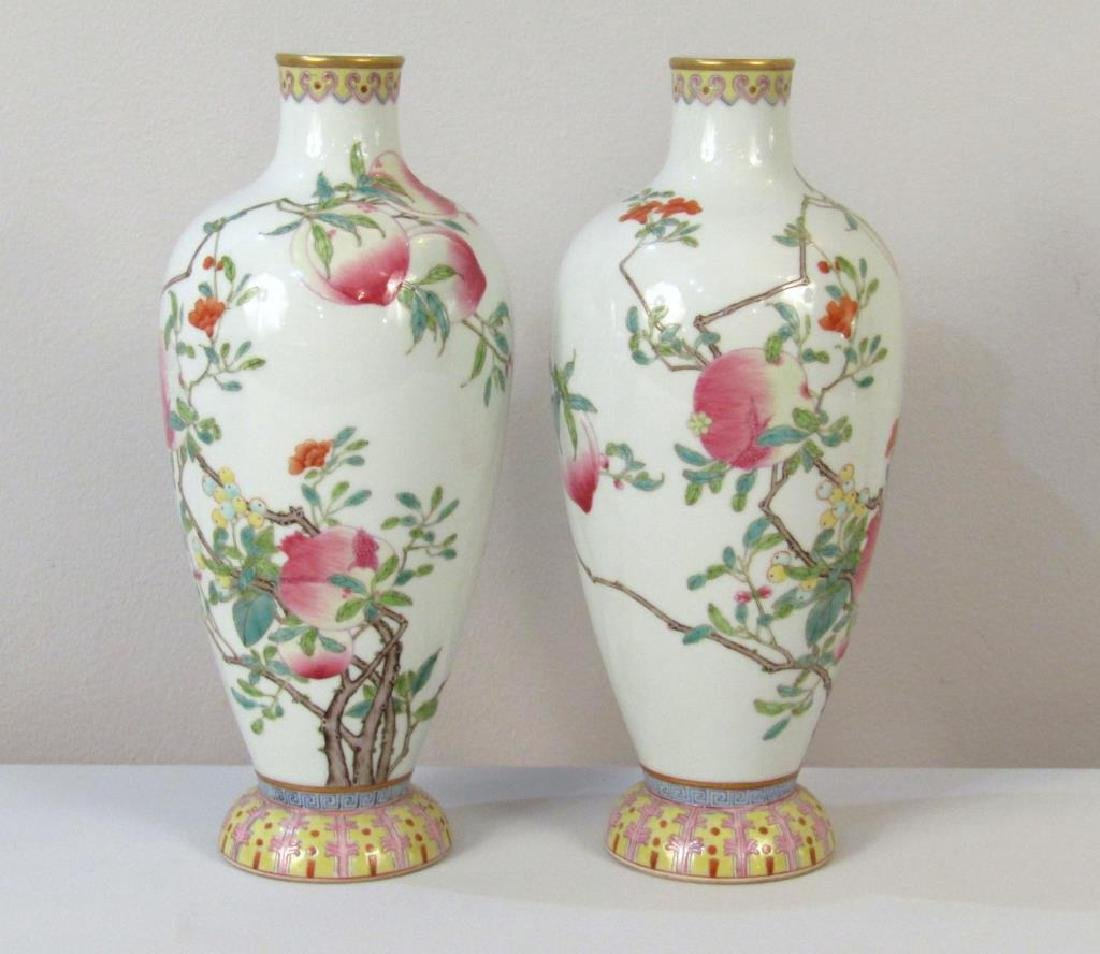 Pair Chinese Peach Blossom Porcelain Vases
