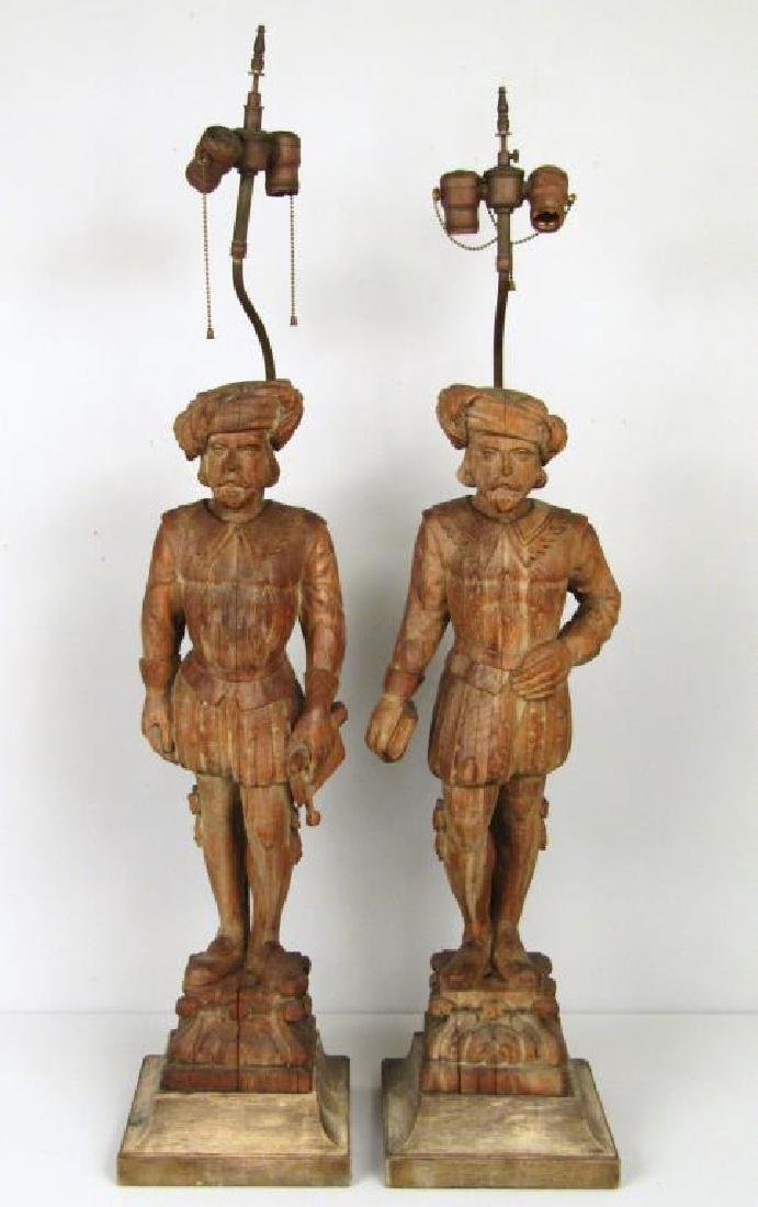 Pair Tall Wood Carved Figural Lamps