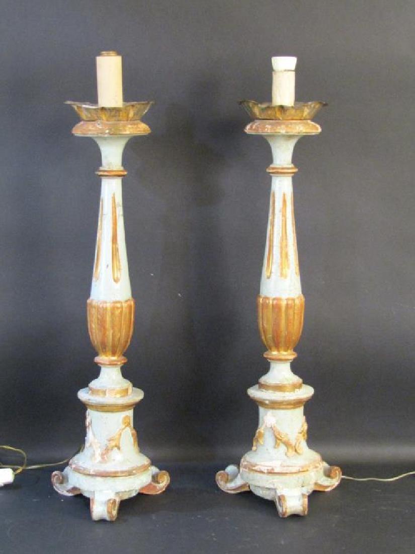 Pair Antique Italian Candlestick Lamps