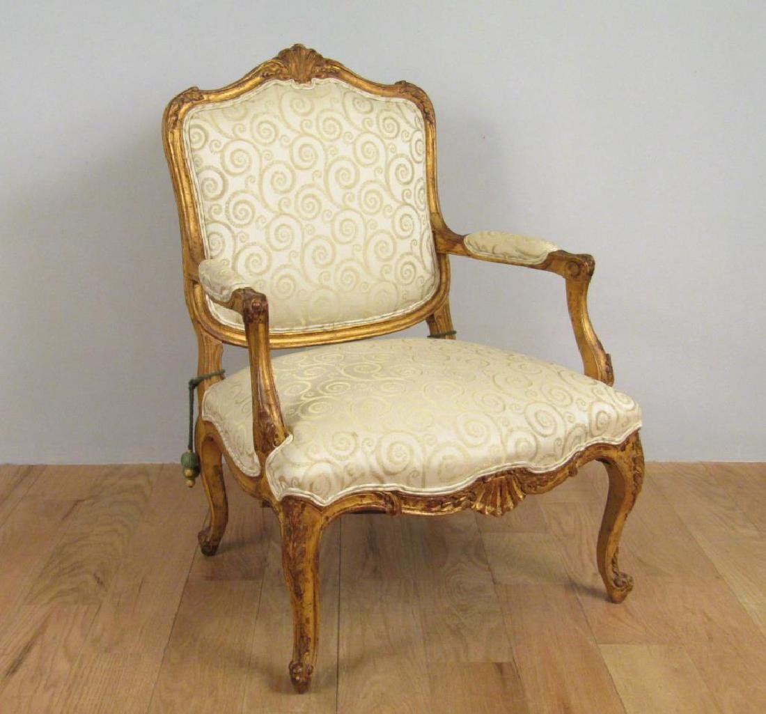 Georgian Style Carved Library Arm Chair