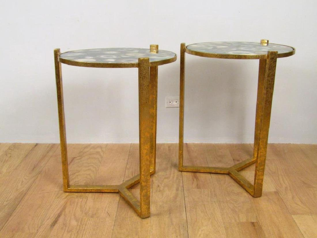 Pair Hollywood Regency Round Lamp Tables