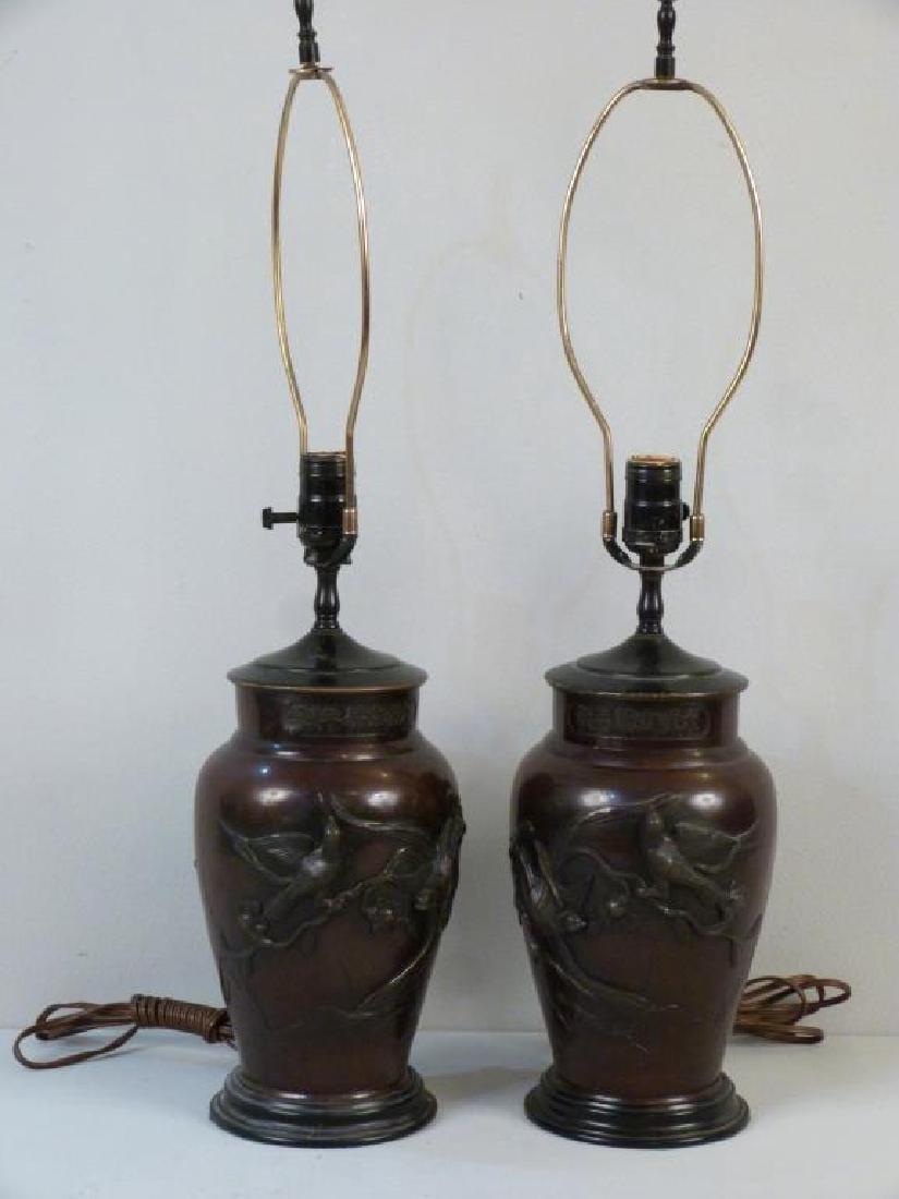 Pair Chinese Metal Vase Lamps