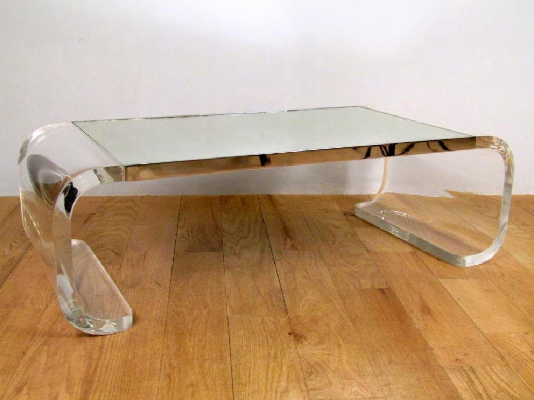 Modern Mirror Top Lucite Cocktail Table