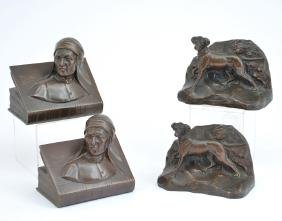 2 Pair Jennings Brothers Bronze Bookends
