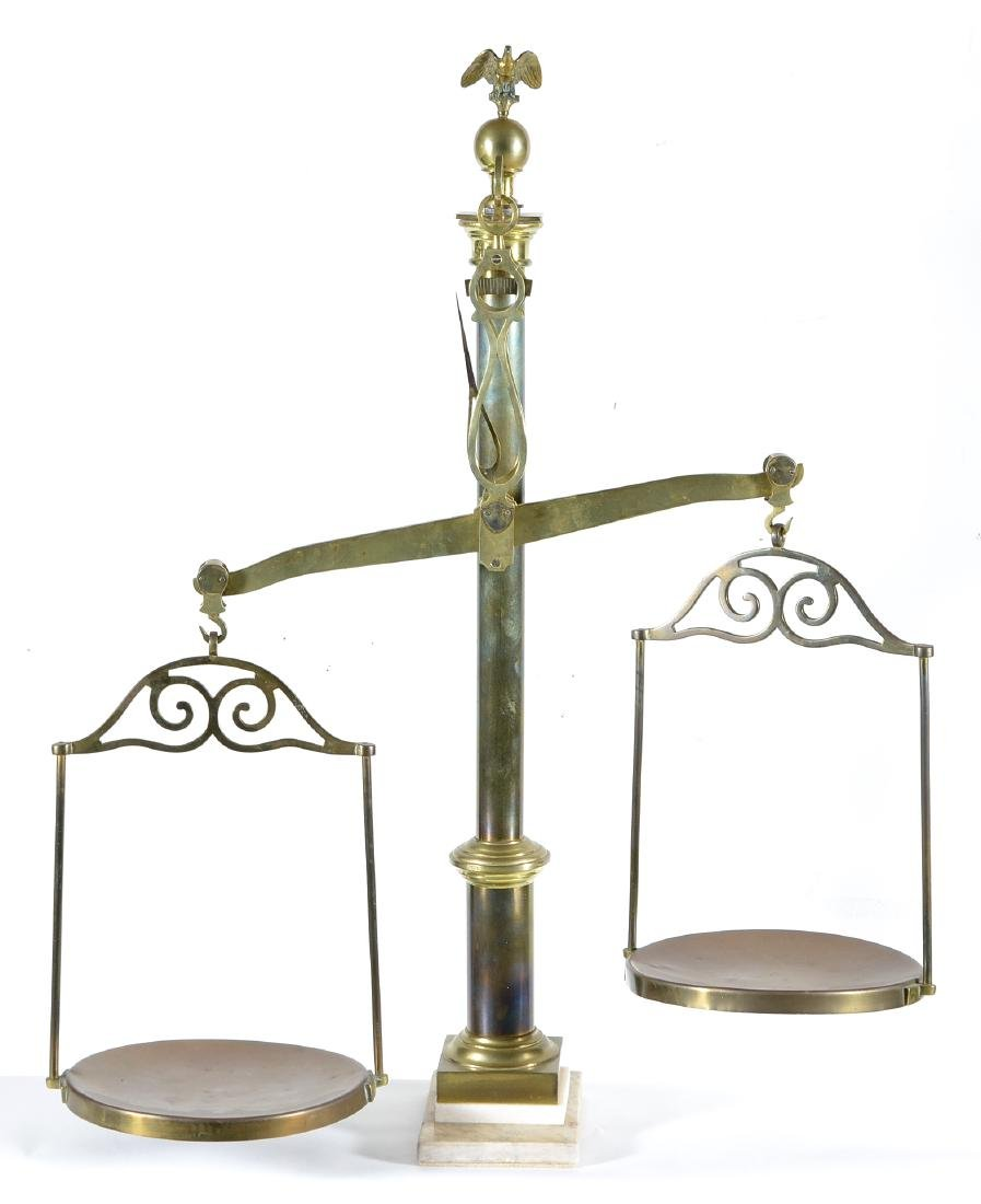 """Continental copper and brass balance scale, 41 3/4""""h"""