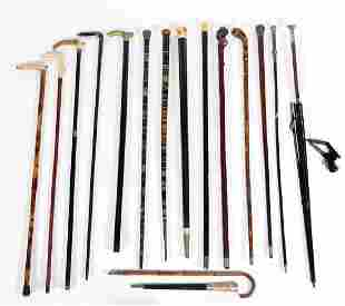 14 Canes of various materials and a parasol