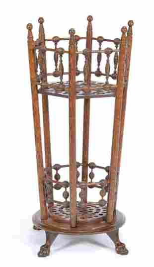 Wood cane stand, 19th c, holds appx 60 canes