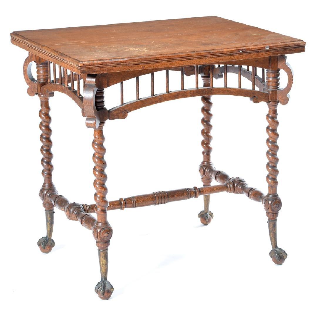 Victorian Eastlake oak lamp table